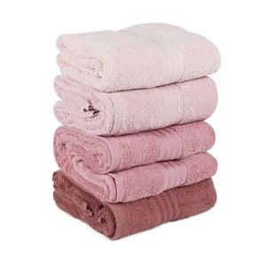 Zestaw 4 różowych ręczników Rainbow Powder, 70x140cm