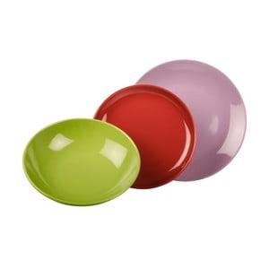 18-częściowy komplet talerzy Kaleidoskop, zielono-fioletowo-czerwony