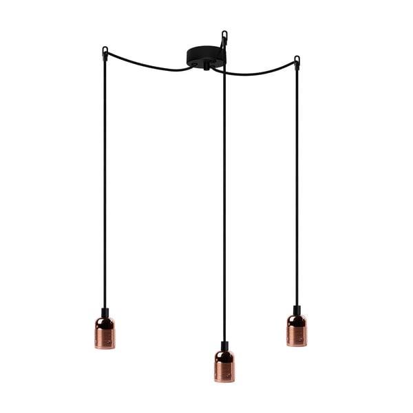 Lampa wisząca z 3 czarnymi kablami i oprawką żarówki w miedzianym kolorze Bulb Attack Uno Basic