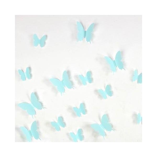 Zestaw  12 naklejek elektrostatycznych 3D Ambiance Turquoise Butterflies