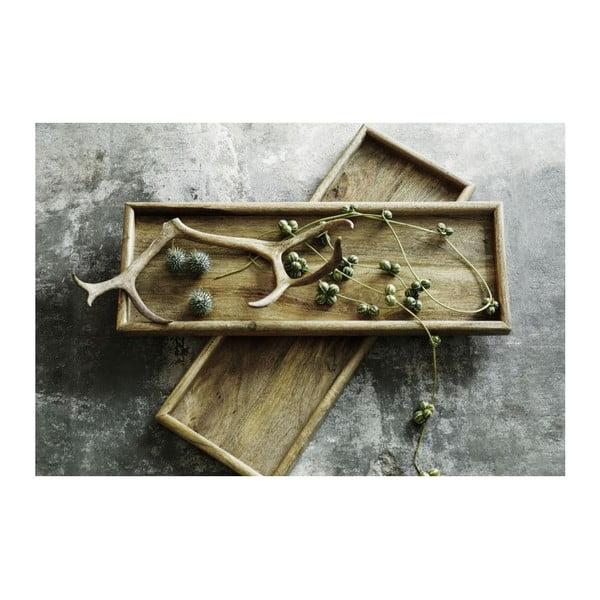 Czarna ręcznie wykonana taca drewniana NORR11 Vintage, 50x20 cm