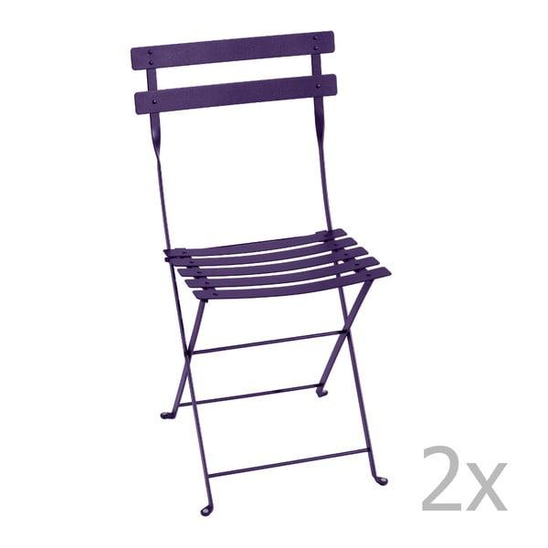 Zestaw 2 fioletowych krzeseł składanych Fermob Bistro