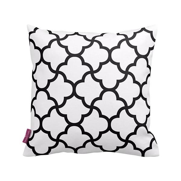 Biała   poduszka z czarnymi detalami Puff,43x43cm