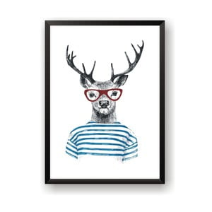 Plakat Nord & Co Deer With Glasses, 21x29 cm