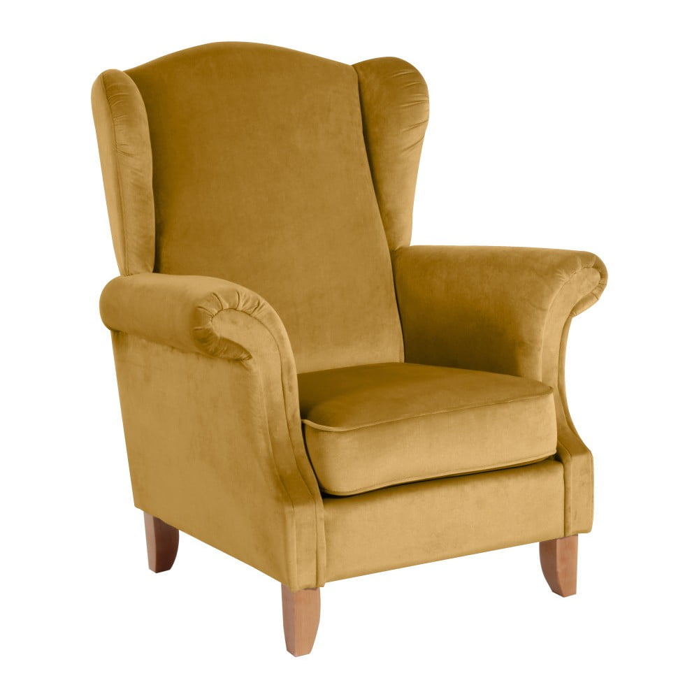Żółty fotel Max Winzer Verita Velvet