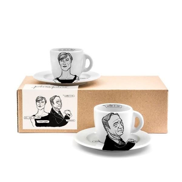 Zestaw 2 kubków z talerzykami House of Coffee