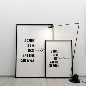 Plakat A smile is the best make up any girl can wear, 50x70 cm