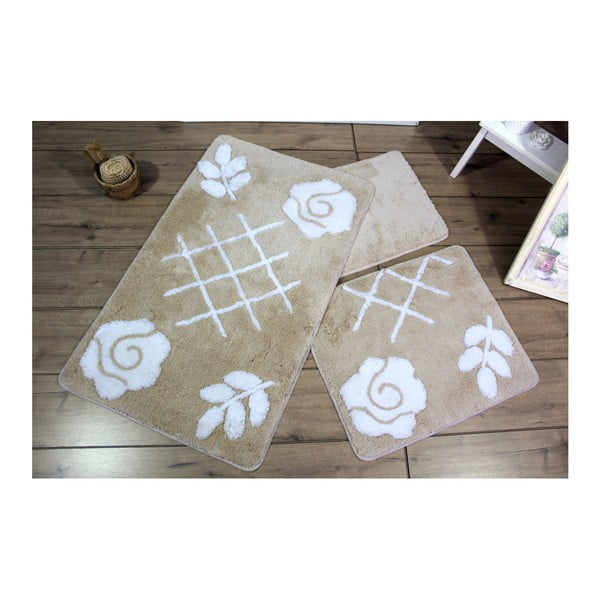 Zestaw 3 beżowych dywaników łazienkowych Bloomen