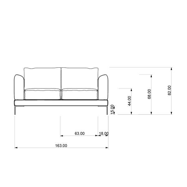 Sofa dwuosobowa Miura Musa, pokrycie szare, tkanina