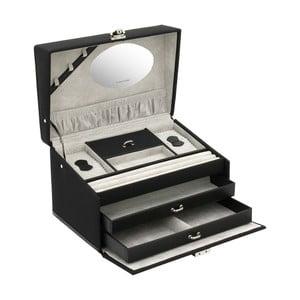 Czarna szkatułka na biżuterię Friedrich Lederwaren Copenhagen, 24x16 cm