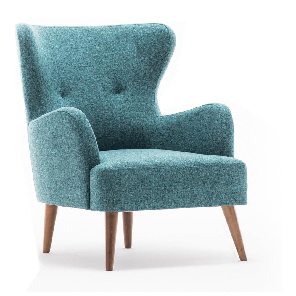 Niebieski fotel uszak Balcab Home Jane
