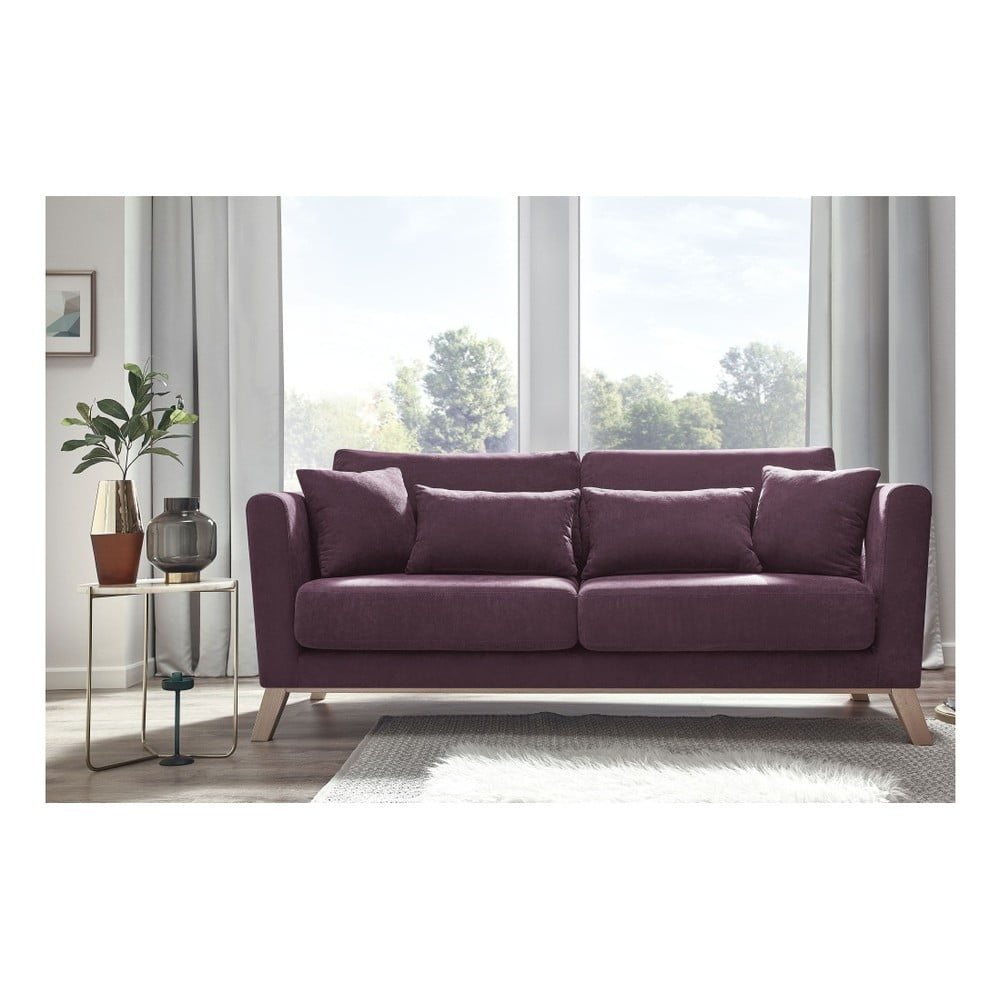Różowa sofa 3-osobowa Bobochic Paris Doblo