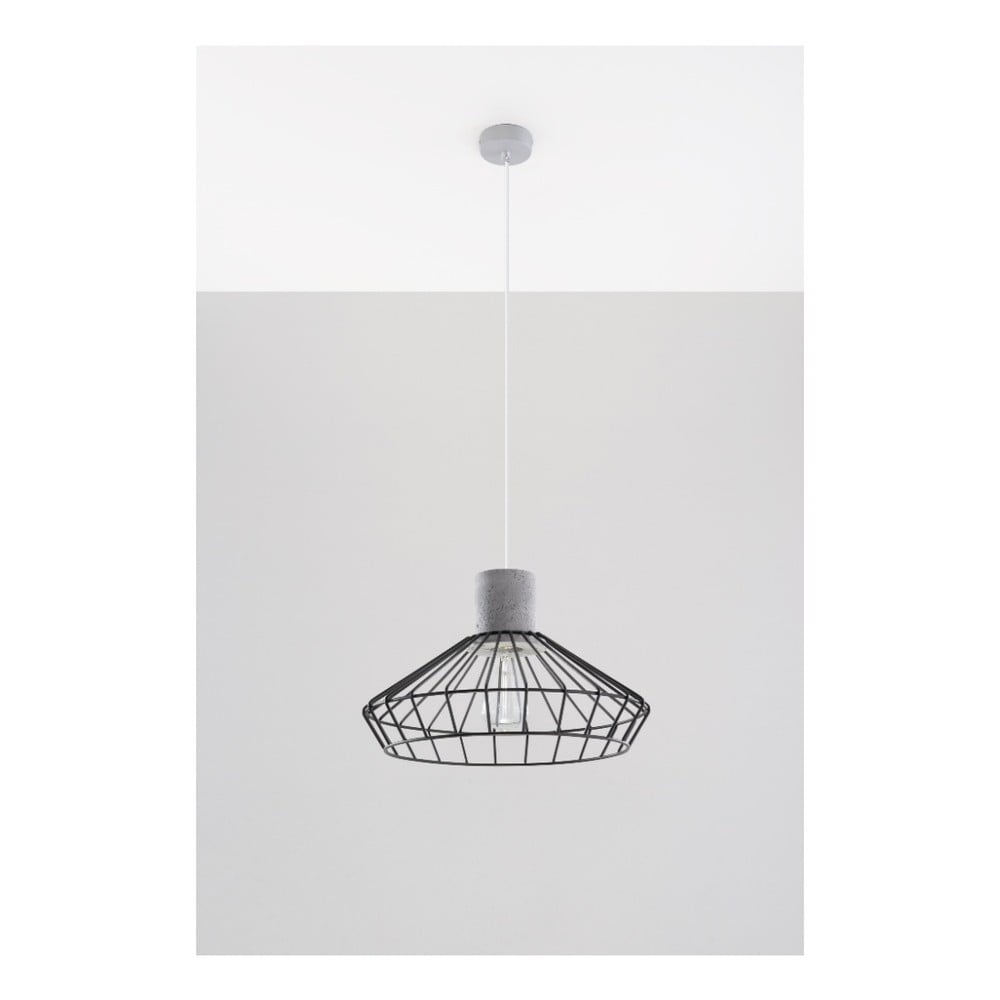 Szaro-czarna lampa wisząca Nice Lamps Prato