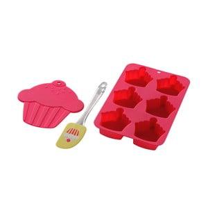 Forma, silikonowa łopatka i podstawka Premier Housewares Cupcake Baking Pink, 3 sztuki