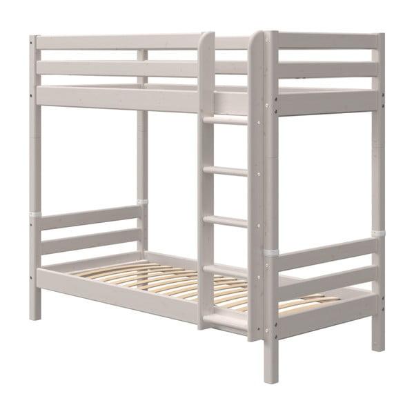Szare dziecięce łóżko piętrowe z drewna sosnowego Flexa Classic, wys. 184 cm