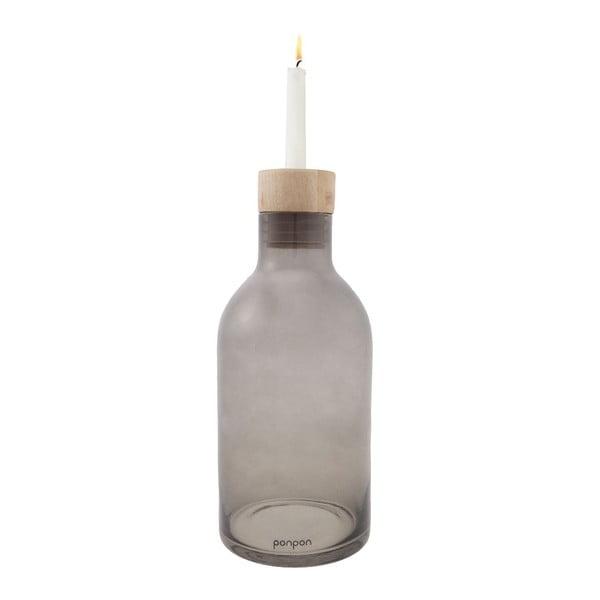 Wazon/świecznik Bottle 25,5 cm, szary