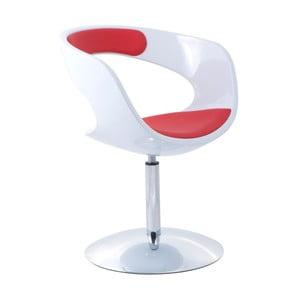Krzesło obrotowe Flop, białe/czerwone