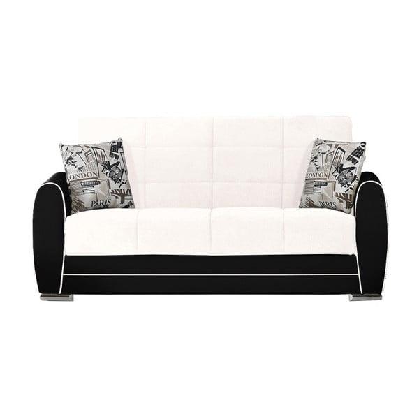 Kremowo-czarna dwuosobowa sofa rozkładana ze schowkiem Esidra Rest