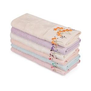 Zestaw 6 kolorowych ręczników z czystej bawełny Drew, 30x50 cm
