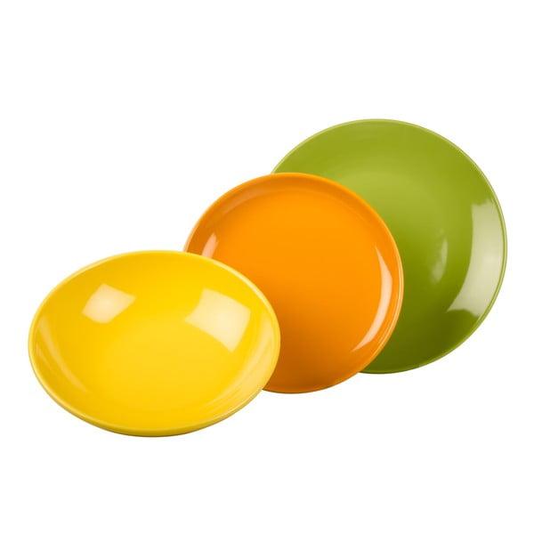 18-częściowy komplet talerzy Kaleidos, zielono-pomarańczowo-żółty