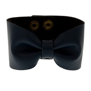 Bransoletka Leather Bow Navy Blue