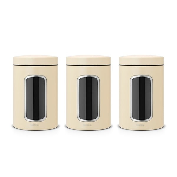 Zestaw 3 kremowych pojemników kuchennych Brabantia, 1,4 l