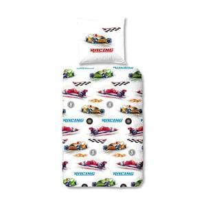 Dziecięca pościel jednoosobowa z czystej bawełny Muller Textiels Formule 1, 135x200 cm
