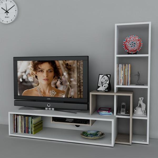 Stolik telewizyjny z regałem Stab White/Cordoba, 39x143,6x123,4 cm