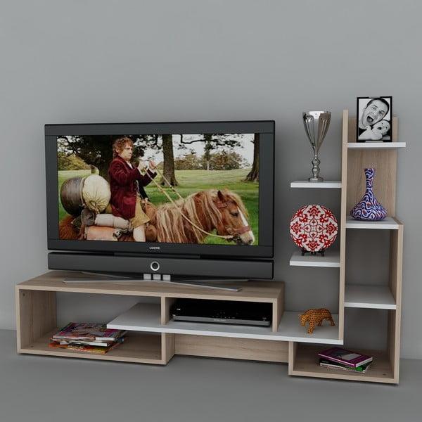 Stolik telewizyjny z regałem Mild White, 39x168,6x107,7 cm