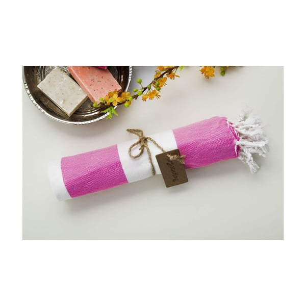 Ręcznik hammam Myra Pink White, 100x180 cm