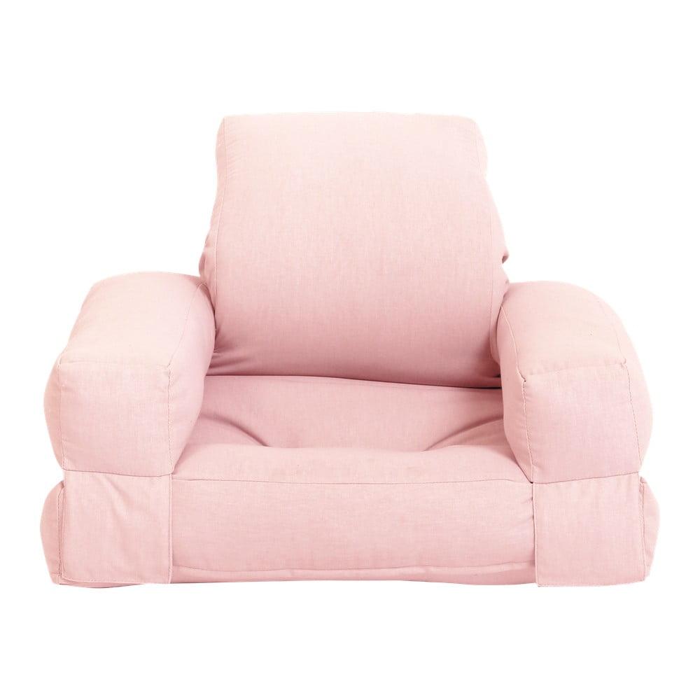 Jasnoróżowy dziecięcy fotel rozkładany Karup Design Mini Hippo Peonie