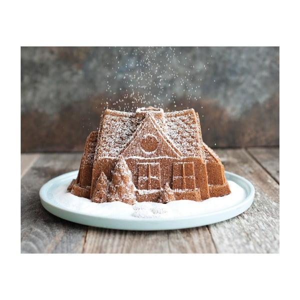 Forma na babkę w srebrnym kolorze Nordic Ware Gingerbread House, 2,1 l