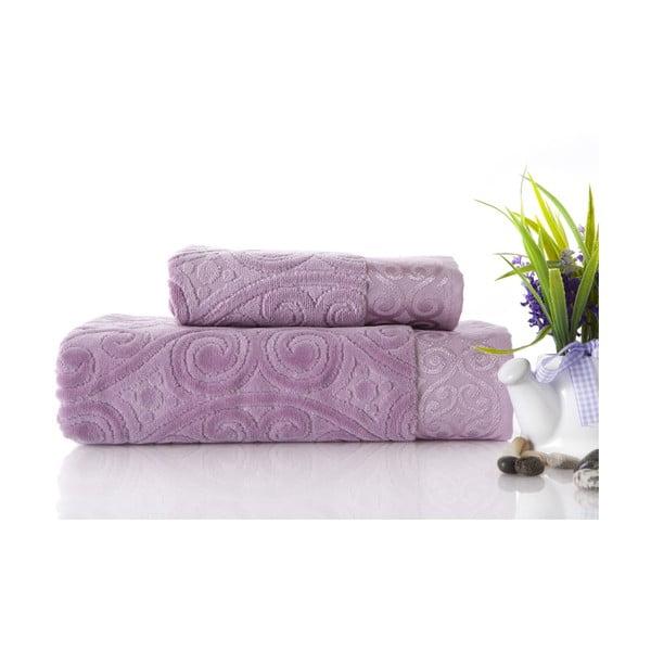 Zestaw 2 ręczników Hanzade Lilac, 70x140 i 50x90 cm