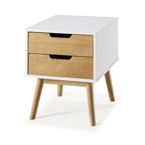 Biała szafka nocna z drewna sosnowego SOB Van