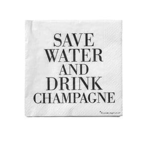 Zestaw 20 serwetek Bloomingville Save Water, 25x25 cm
