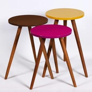 Zestaw 3 stolików Kate Louise Round (fioletowy, brązowy, żółty)