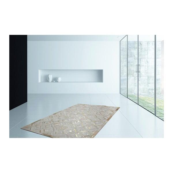 Złoty skórzany dywan Daz, 120x170cm