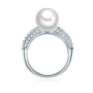 Perłowy pierścionek Muschel, srebrny z białą perłą, rozm. 52