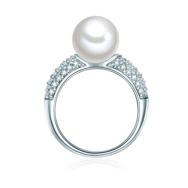 Pierścień w kolorze srebra z białą perłą Perldesse Muschel, rozm. 54