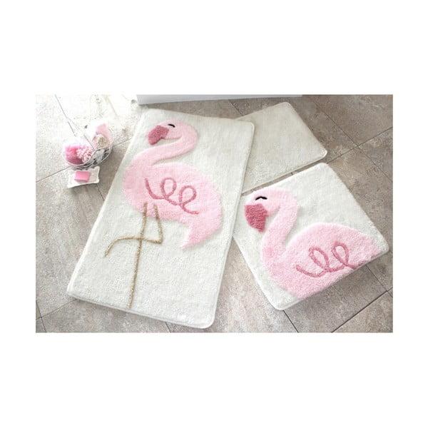 Zestaw 3 dywaników łazienkowych Alessia Pink Flamingo