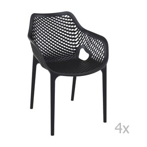 Zestaw 4 czarnych krzeseł ogrodowych z podłokietnikami Resol Grid
