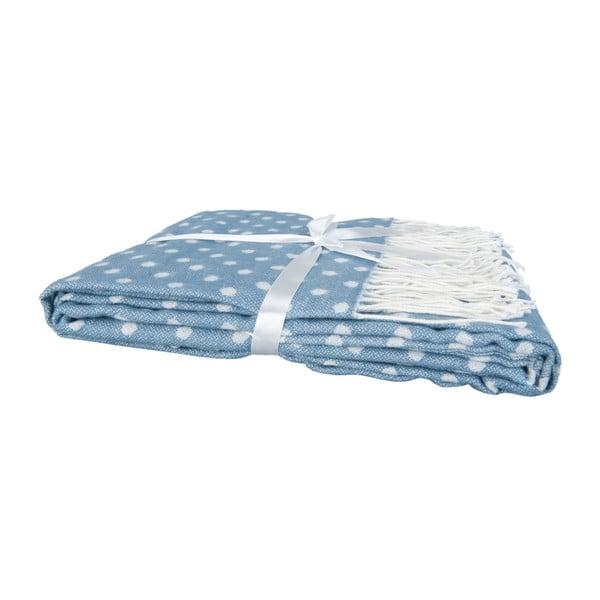 Niebieski pled w groszki Clayre & Eef Dots, 130x150 cm