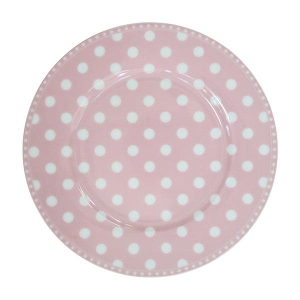 Talerz deserowy Krasilnikoff Dot Pink