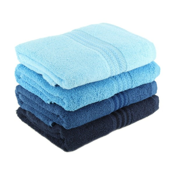 Zestaw 4 niebieskich ręczników Rainbow Sky, 50x90cm