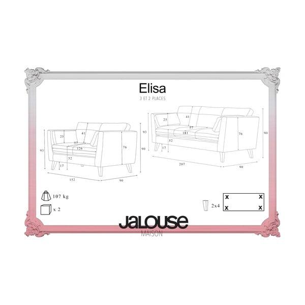 Antracytowy zestaw 2 sof dwuosobowej i trzyosobowej Jalouse Maison Elisa