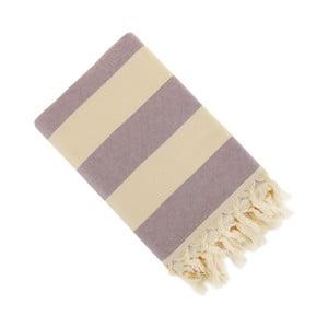 Fioletowy ręcznik Hammam Stripe, 150x90 cm