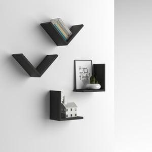 Zestaw 4 półek z dekorem ciemnego drewna jesionu MobiliFiver MenaciV