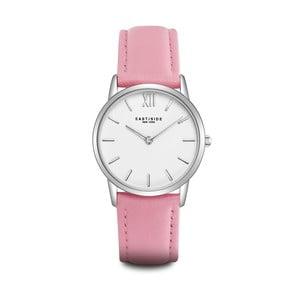 Zegarek damski z różowym skórzanym paskiem i cyferblatem w kolorze srebra Eastside Upper Union