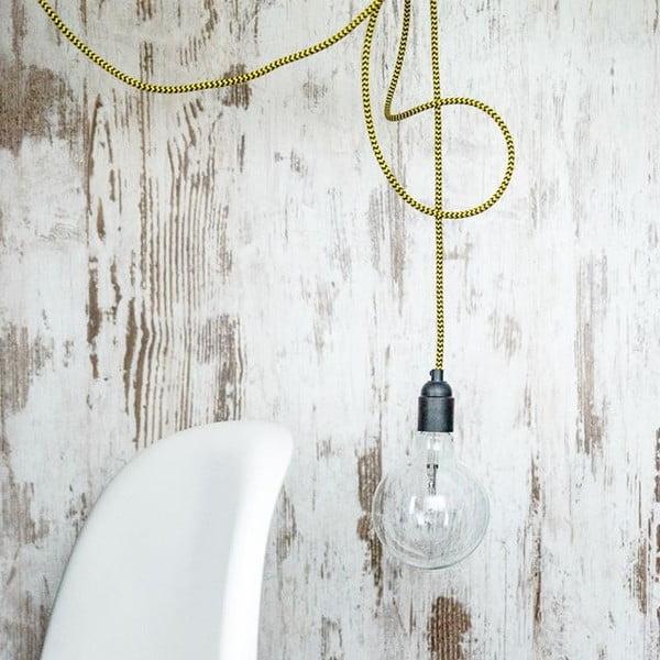 Kolorowy kabel Loft Ceramic z żarówką, czarny tulipan
