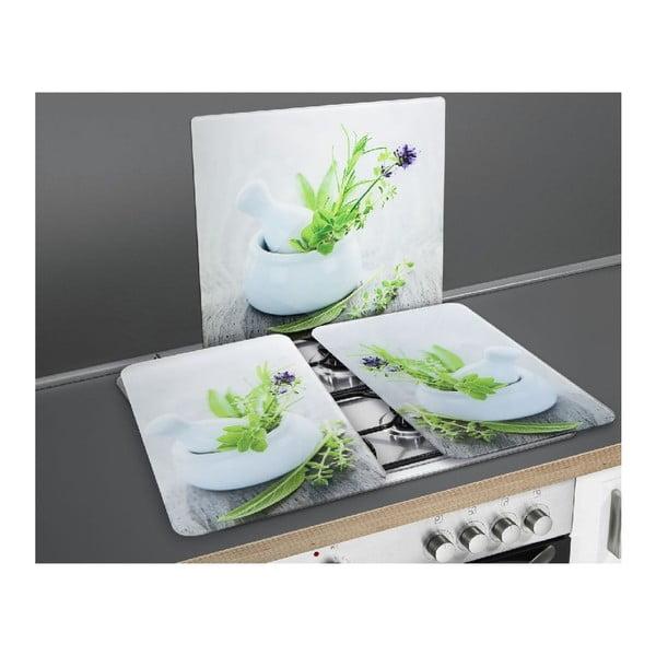 Zestaw 2 szklanych płyt ochronnych na kuchenkę Wenko Herbal, 52x30cm